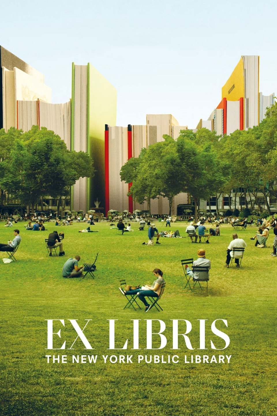 A poster for the movie Ex Libris shows people sitting in an urban park and the buildings are made to look like books.