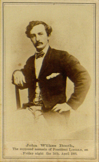 John Wilkes Booth The Supposed Assassin Of President Lincoln On Friday Night 14th April 1865 Carte De Visite