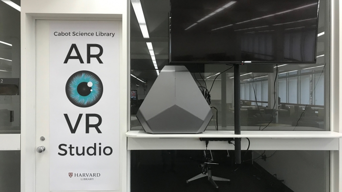 The entrance to the virtual reality studios on the second floor of the Cabot Science Library.