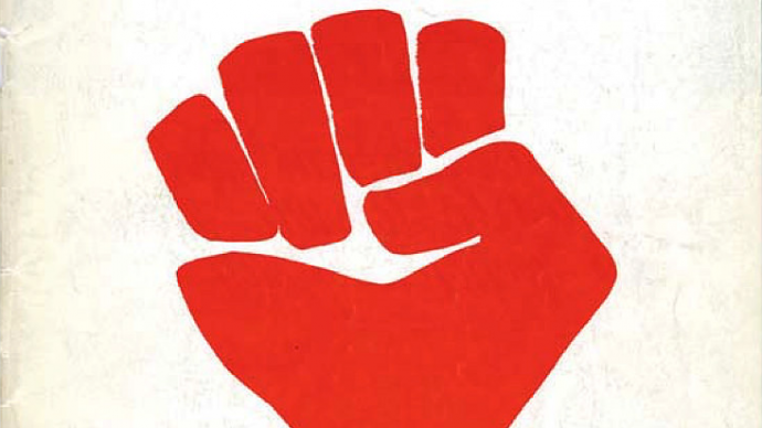 Harvey Hacker '63, M.Arch. '69, designed an image that became emblematic of the era: a red, clenched fist.