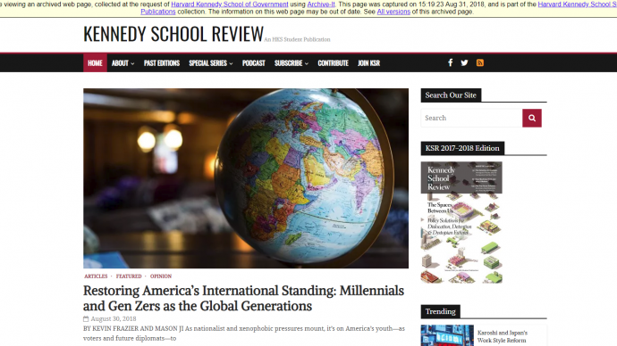 "A screencap of a website entitled ""Kennedy School Review"""