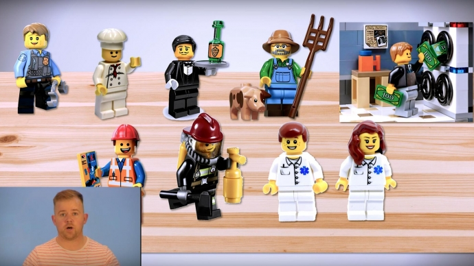 A screenshot from a Touchscape video. It shows the instructor in the corner and Lego people representing different professions.