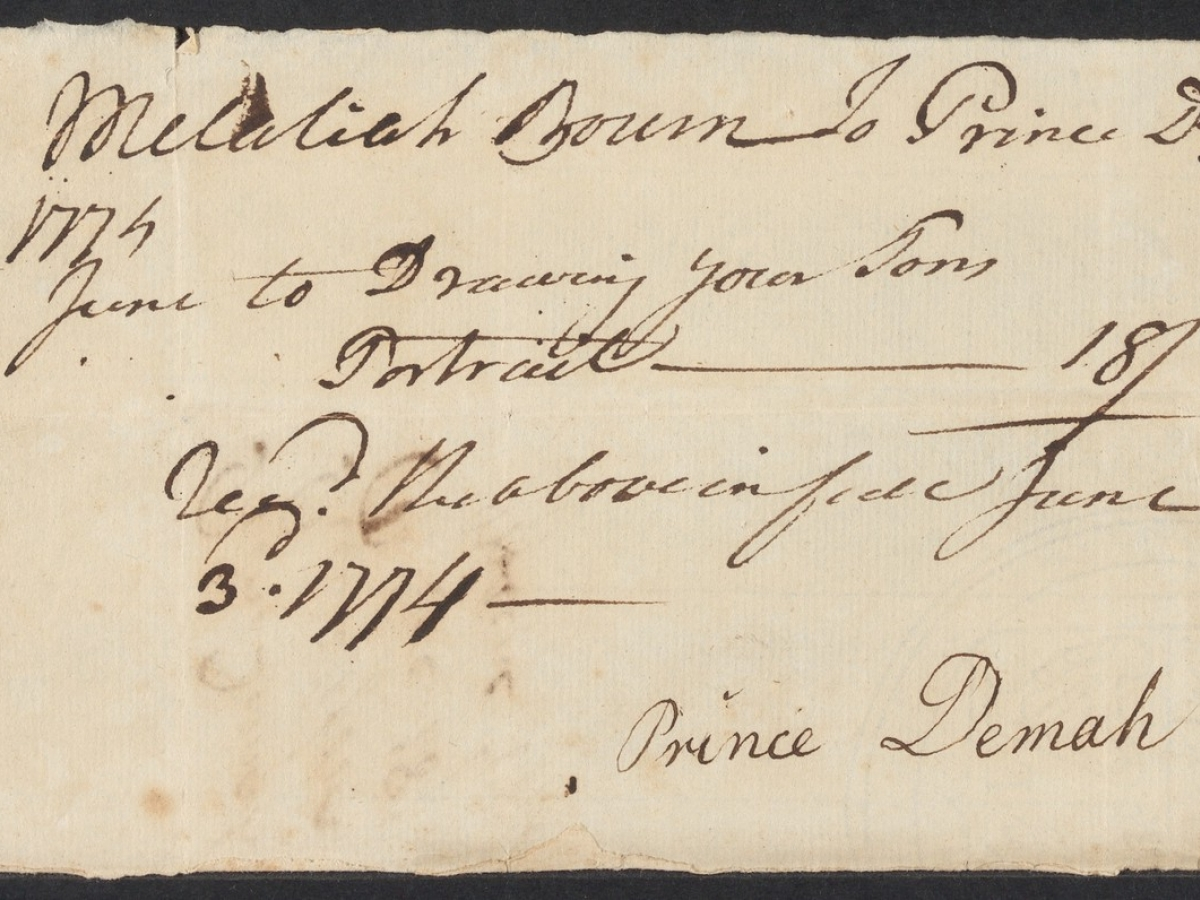 A bill for portraits painted by Prince Demah, signed by Demah and Melatiah Bourne, who purchased the paintings.