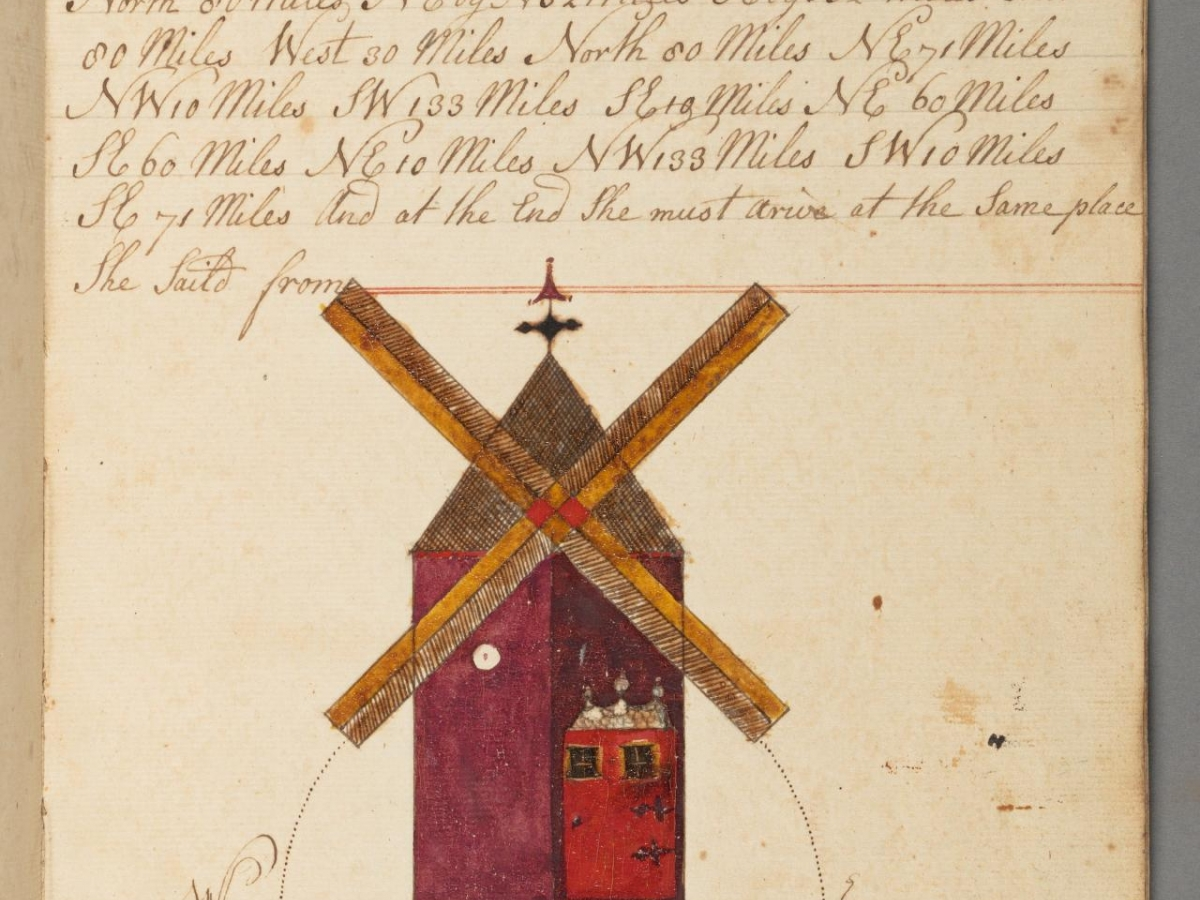 Illustration of windmill from Notes concerning navigation, author John Williams, 1779.