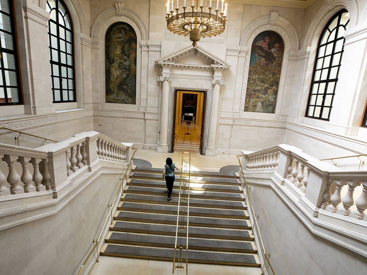 Widener Library lobby image from above