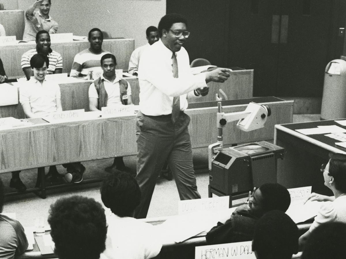 James I. Cash Jr. teaching Summer Venture in Management program, circa 1983.