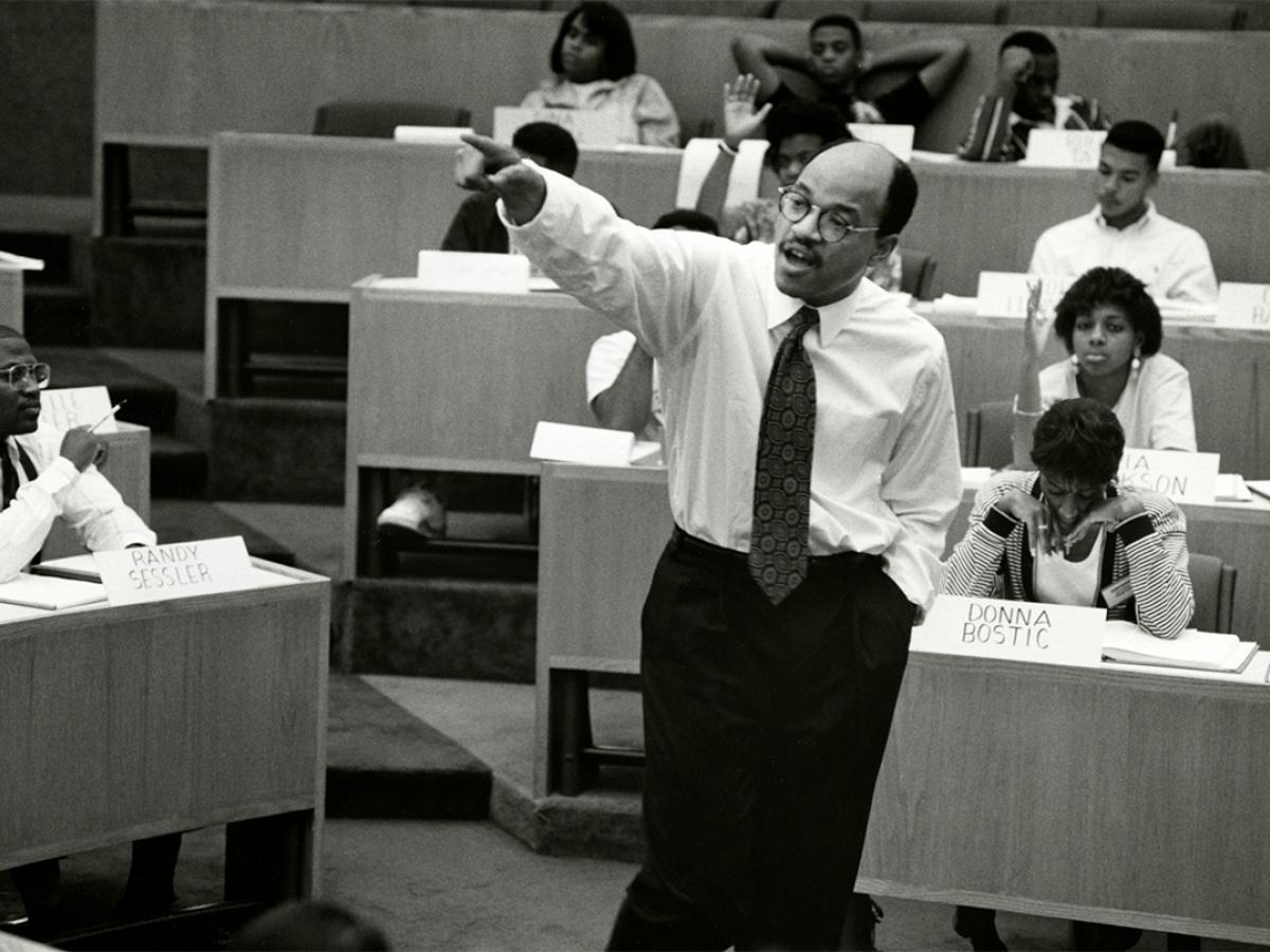 David A. Thomas speaks to a class circa 1995.