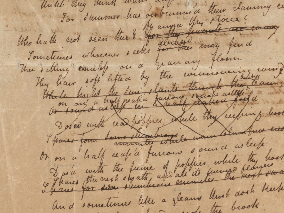 """John Keats's working draft for the ode """"To autumn."""""""