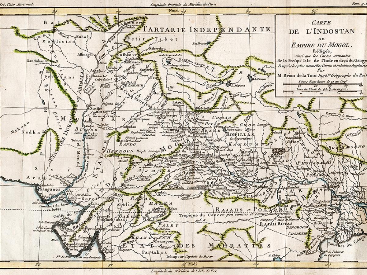 Map of Mogol Empire, circa 1700s.