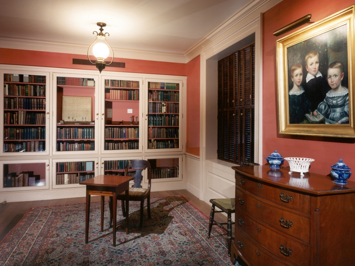 The Emily Dickinson Room in Houghton Library includes family portraits, Dickinson's desk, and the family's books, among other items.