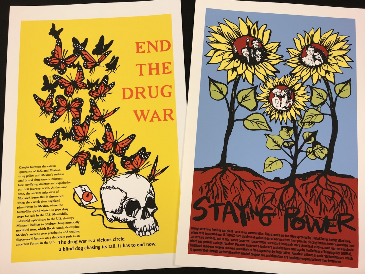 """A composite photograph of two posters one reads """"End the Drug War"""" the other """"Staying Power"""""""