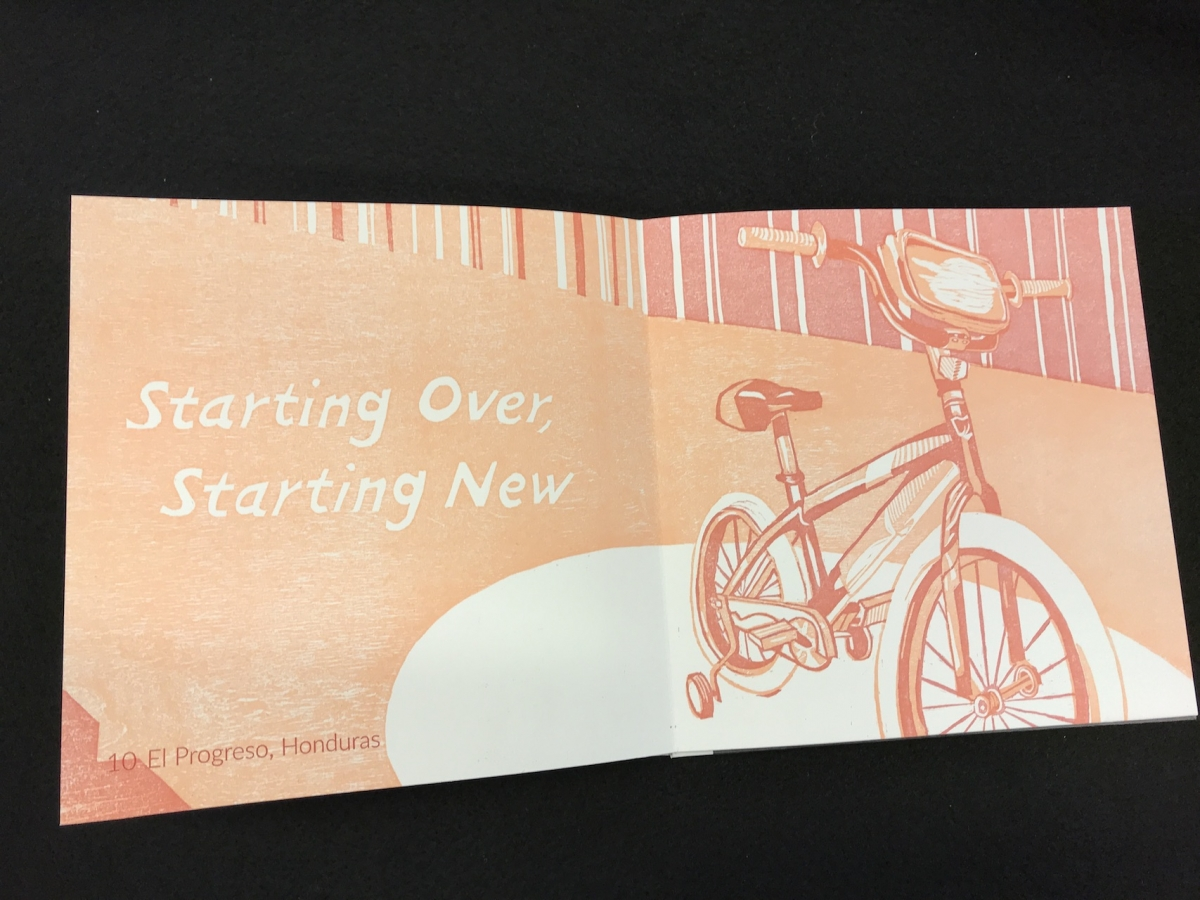 """An illustration of a bicycle with the words """"Starting over, starting new"""""""