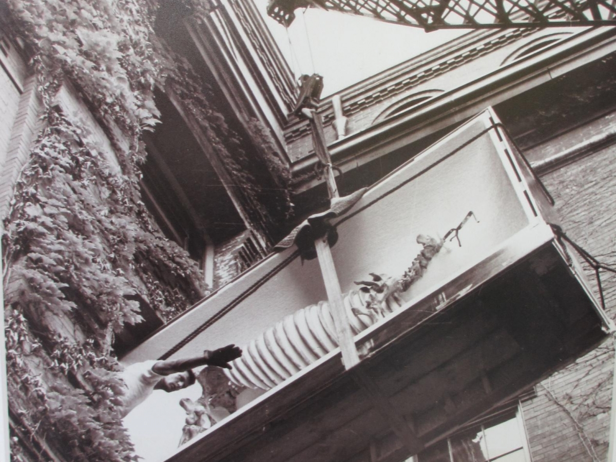 Photo of fossil exhibit being lifted by crane into museum window