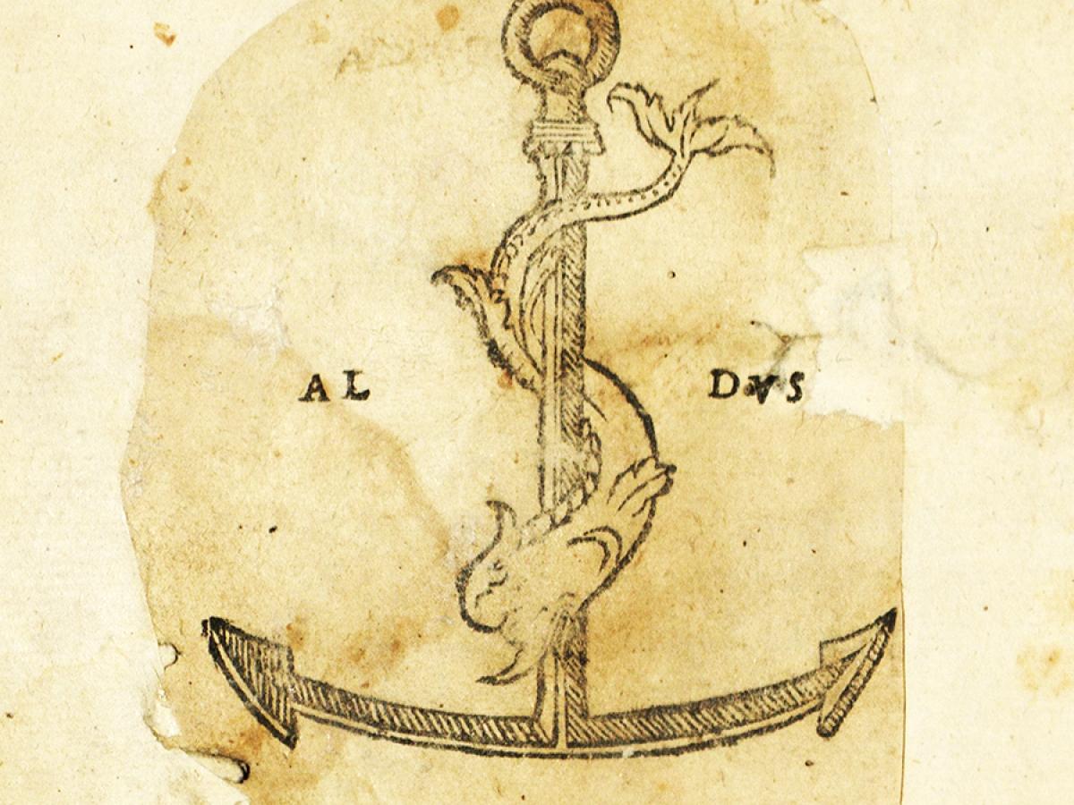Ovid, Publius Naso. De Ponto. Venice: Aldus Manutius, 1503. Famed Aldine dophin and anchor device at end of book.