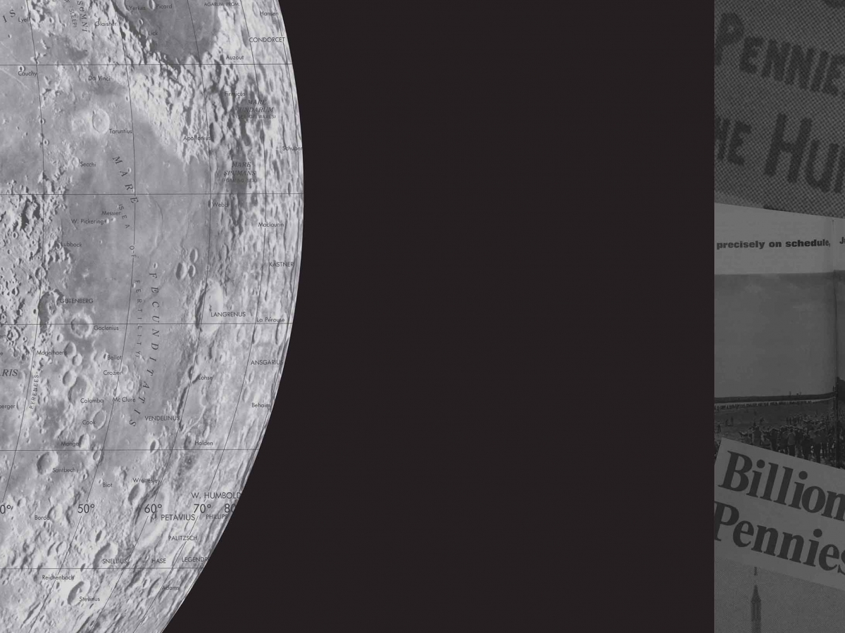 Black and white detail of the moon next to a collage of newspapers