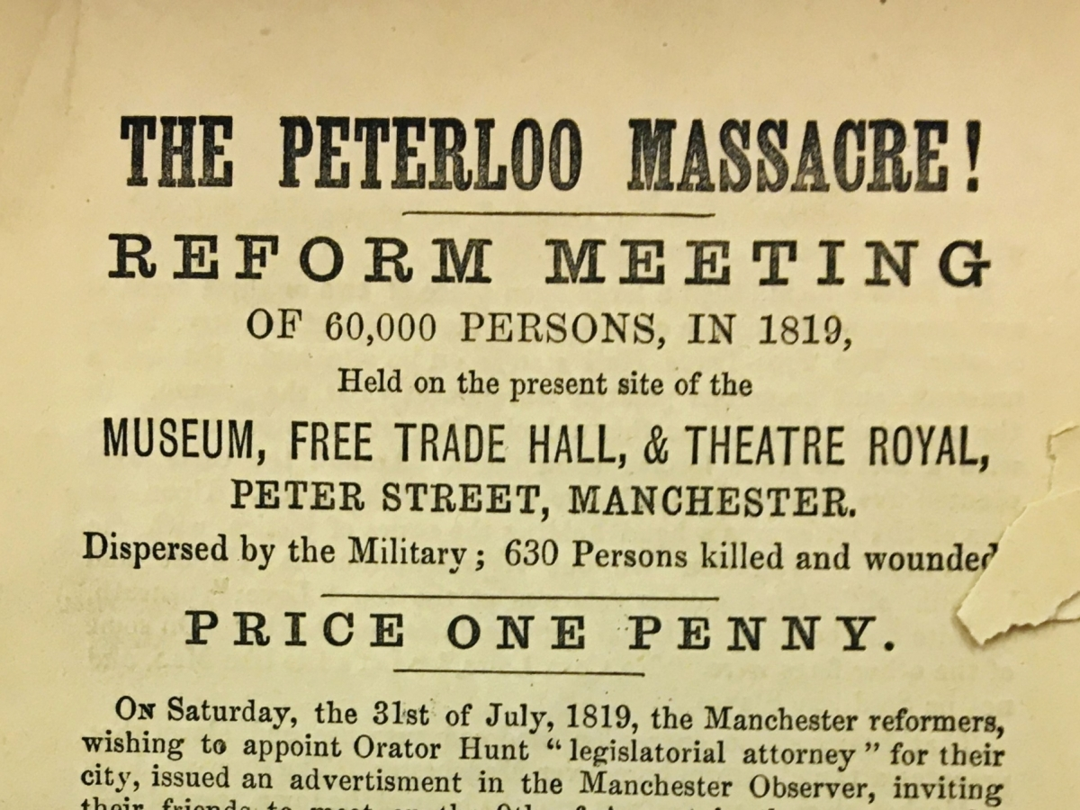 Penny pamphlet distributed to protest armed militia's brutal suppression of a peaceful protest by men, women, and children seeking political representation.