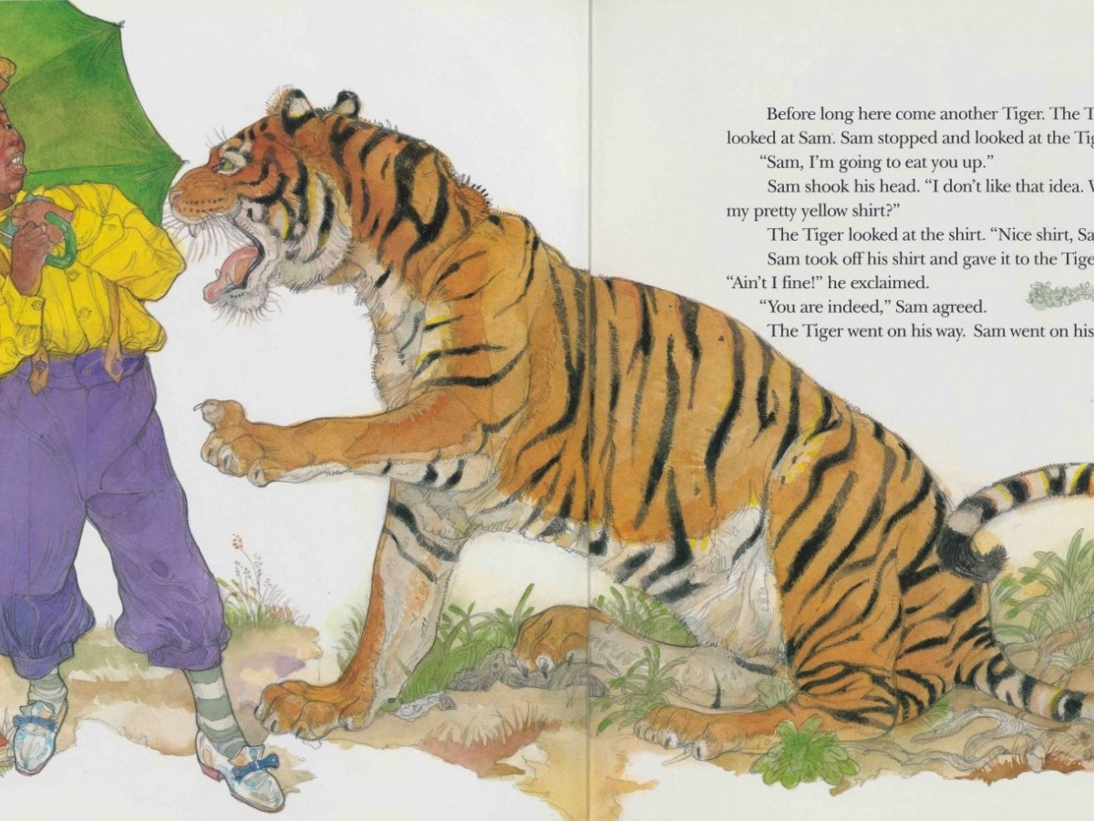 Book illustration of Sam speaking with a tiger from Julius Lester and Jerry Pinkney. Sam and the Tigers: A New Telling of Little Black Sambo., 1996