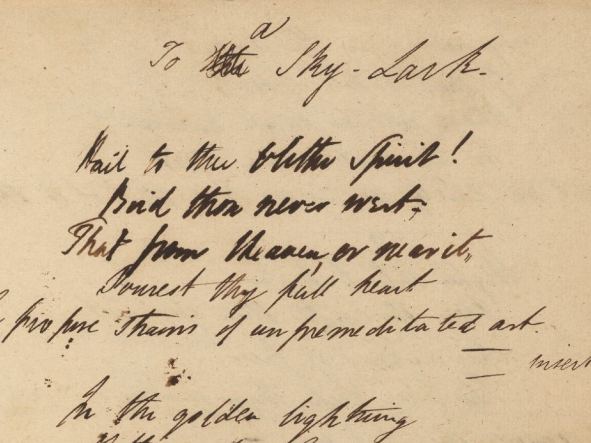 """Percy Shelley's draft of """"To a skylark"""" from one of his working notebooks."""