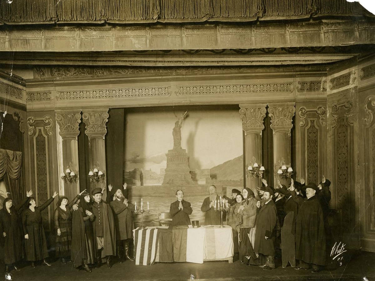 Yiddish Theater, photograph of a performance of the play Jewish War Brides, circa 1915