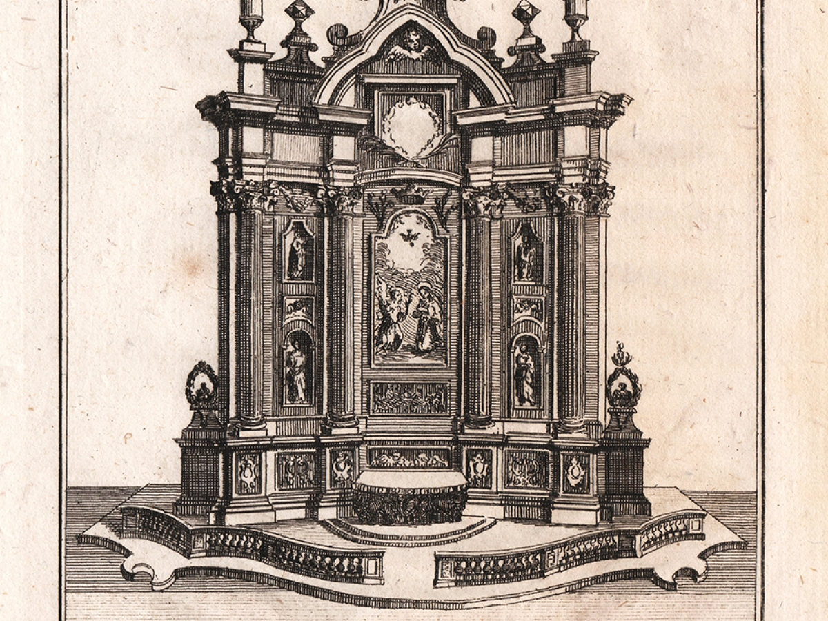 Page from an 18th-century book (title unknown) on the churches of Naples depicting the altar of Cardinal Filomarino.
