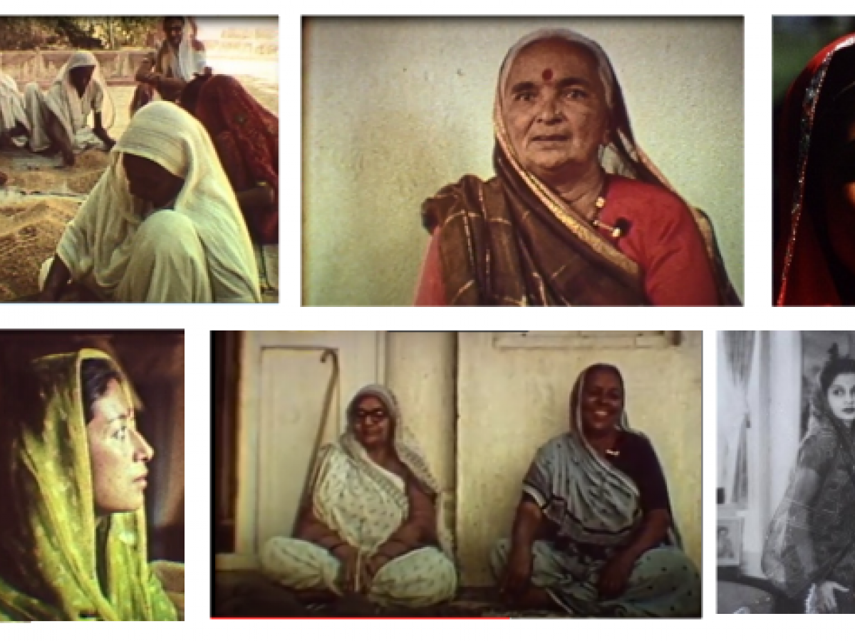 A montage of 6 images of Indian women, including a group of women in saris sit outside sifting grain, and others posing by themselves or in pairs.