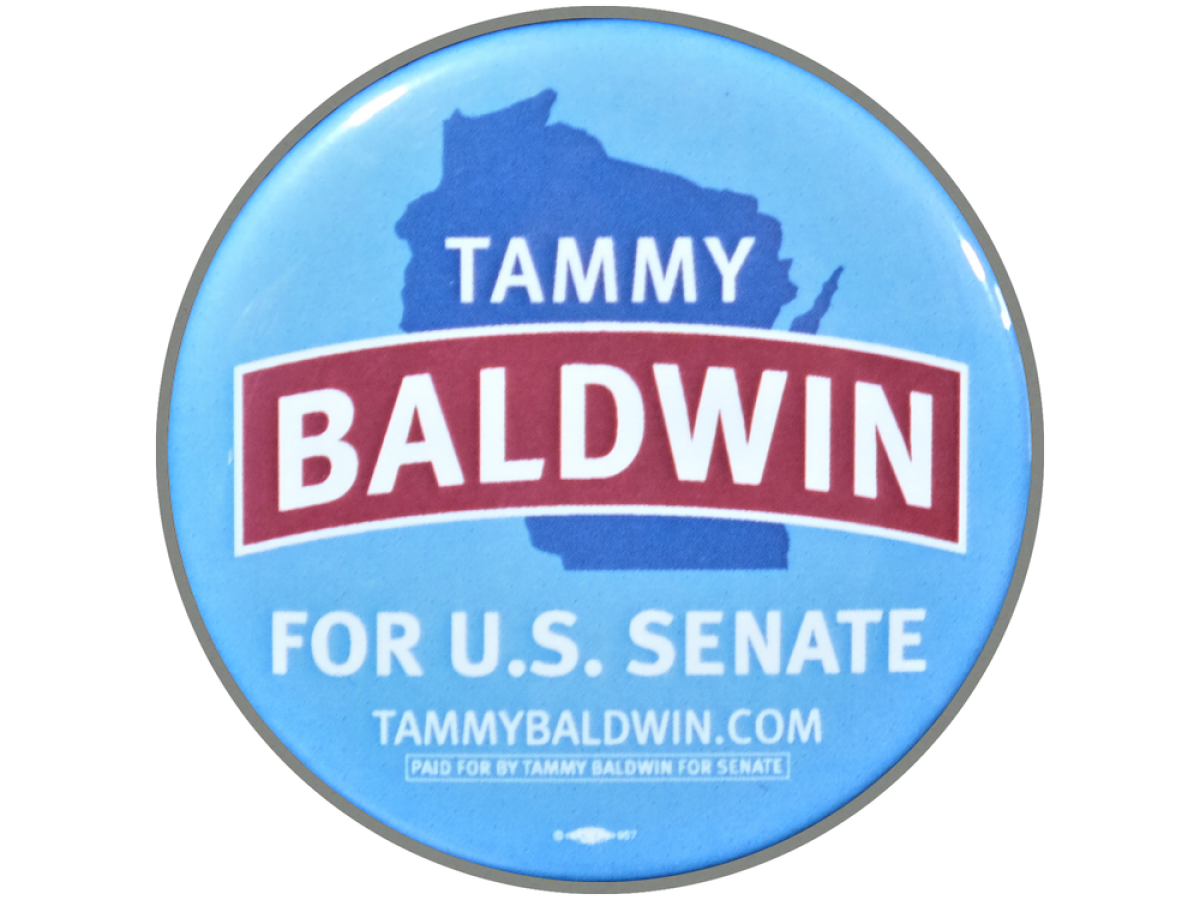 blue button that reads Tammy Baldwin for US Senate