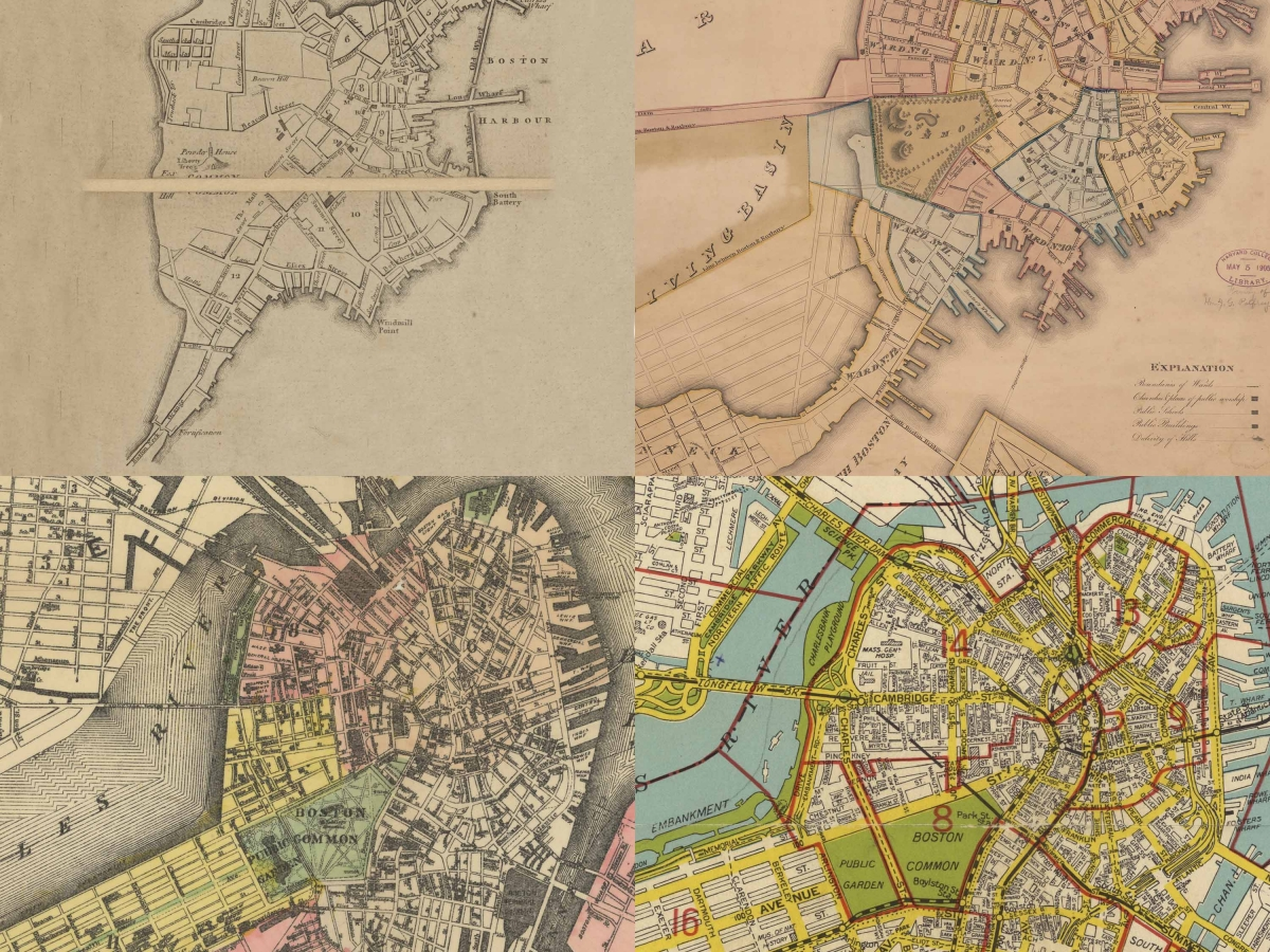 A grid of four maps of Boston proper showing the growth of the city on made land