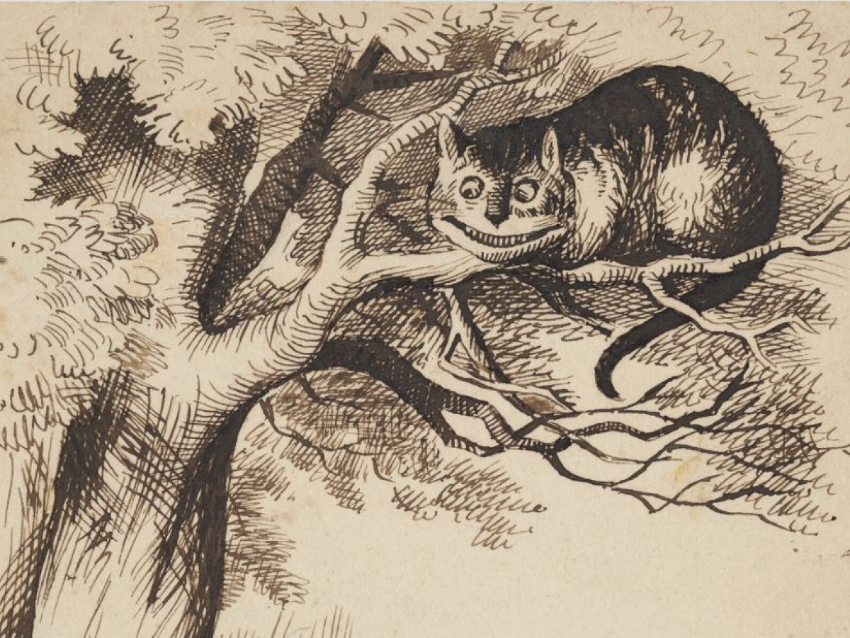Drawing of the Cheshire Cat grinning in a tree, from Alice in Wonderland