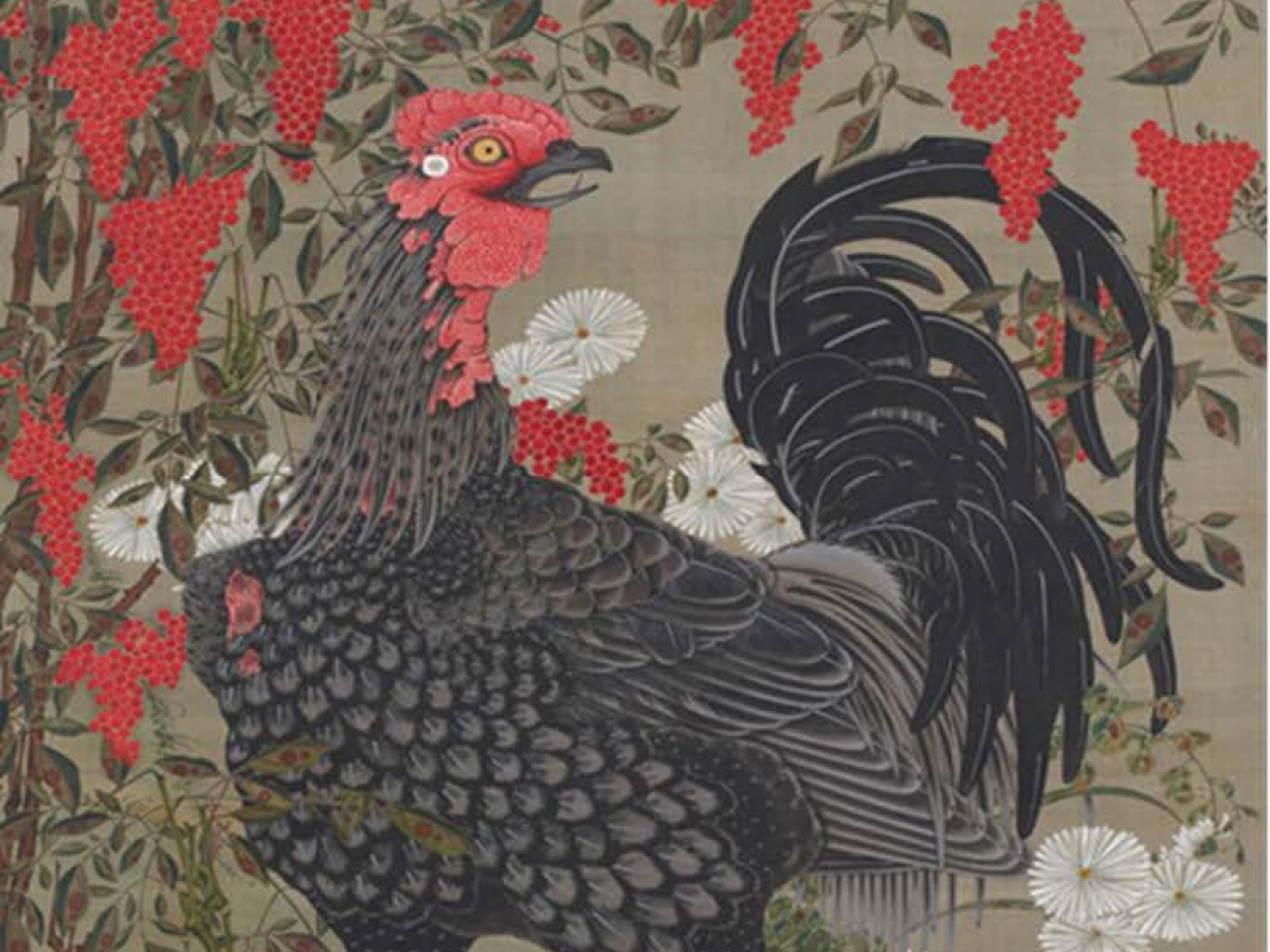 A painting of a chicken