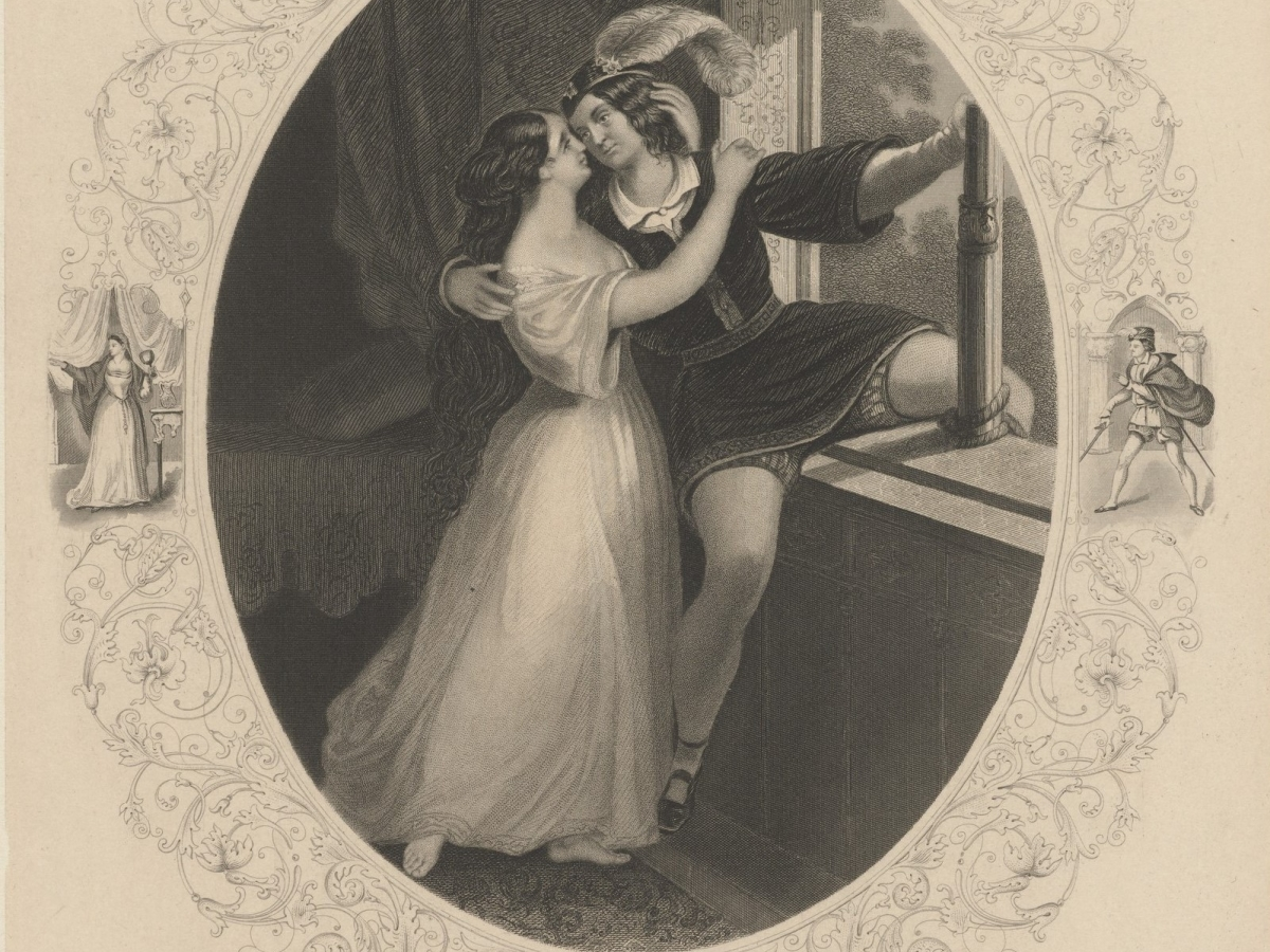 A drawing of Charlotte and Susan Cushman in a play as Romeo and Juliet embracing by a window.