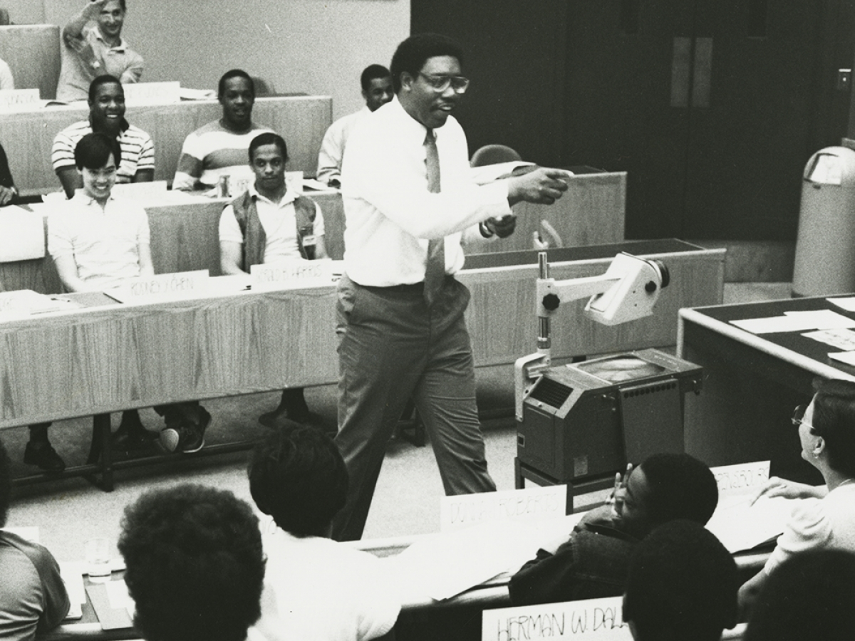 James I. Cash Jr. teaching Summer Venture in Management program, ca. 1983. HBS Archives Photograph Collection: Subject Files & Events. Baker Library, Harvard Business School.