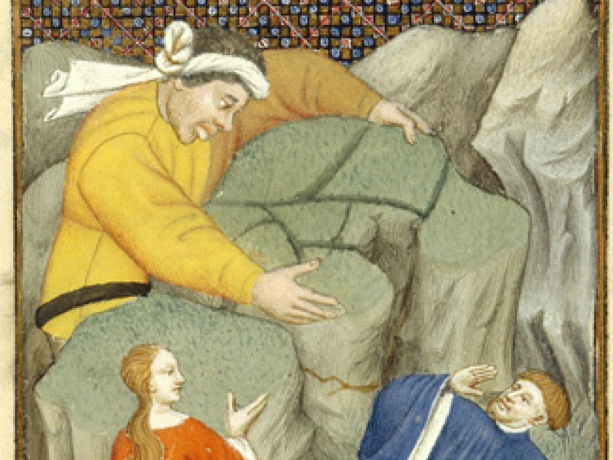 Polyphemus attacking Galatea and Acis. British Library, Harley 4431, 122r.