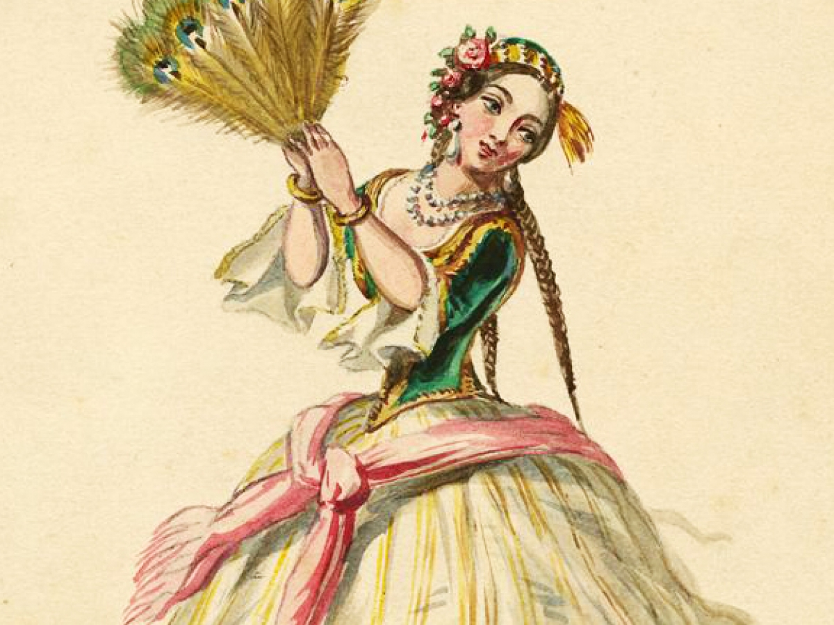 Costume design for Le Corsaire, 1856. MS Thr 160, Houghton Library.