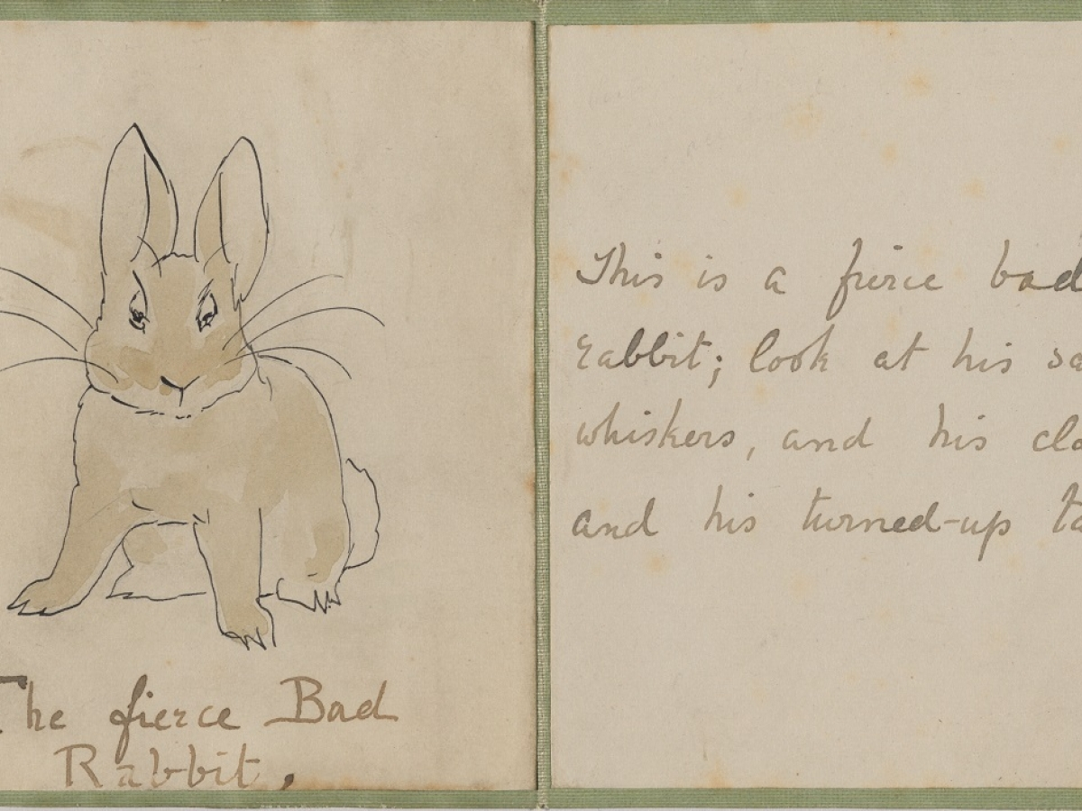 Title and first text pages of Beatrix Potter's final study for The Story of a Fierce Bad Rabbit, ca. 1906
