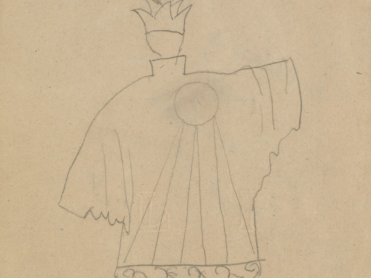 "Costume pencil drawing on paper by Pablo Picasso for Leonide Massine, who took on the leading role of ""Chinese Conjurer"" in the original 1917 Ballets Russes production of 'Parade.' Figure is wearing a crown and large coat with wide pants."
