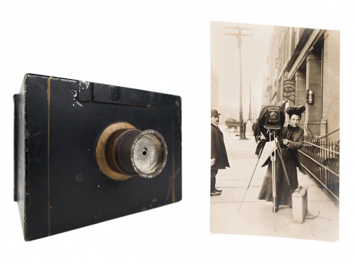 An image of Jessie Tarbox Beals, one of the earliest women photojournalists, and an image of her small box camera.