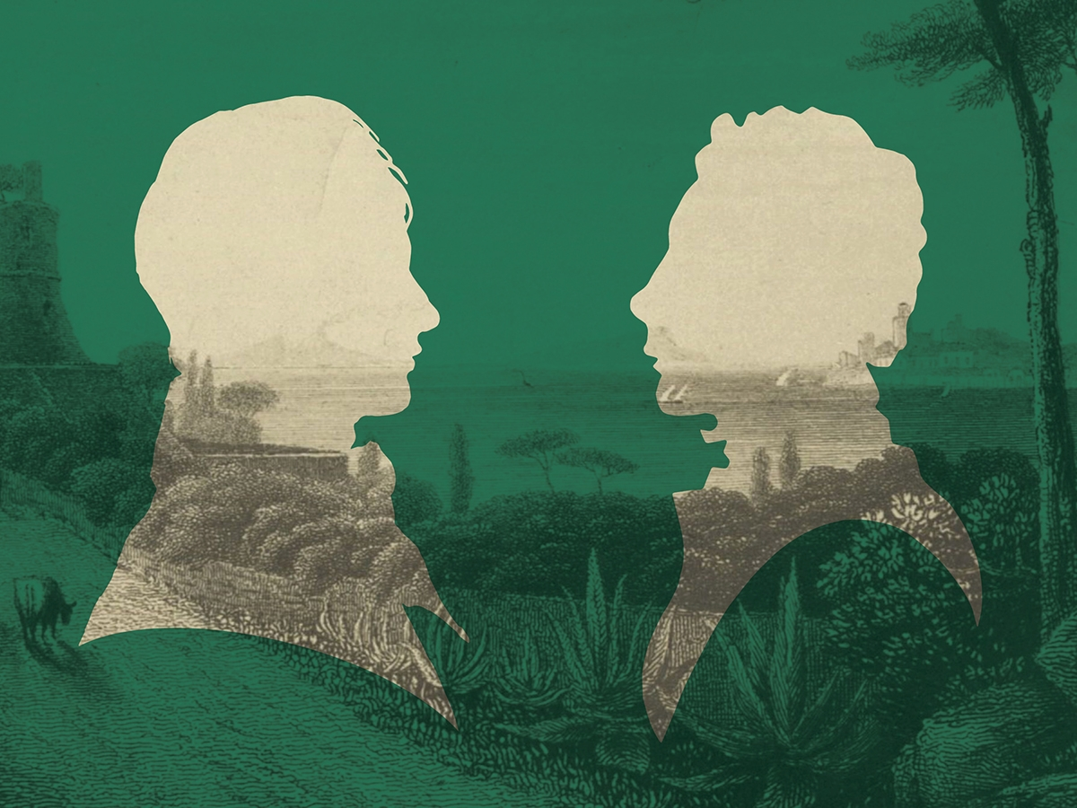 Silhouettes of Percy Bysshe Shelley and John Keats facing each other with an Italian landscape in the background.