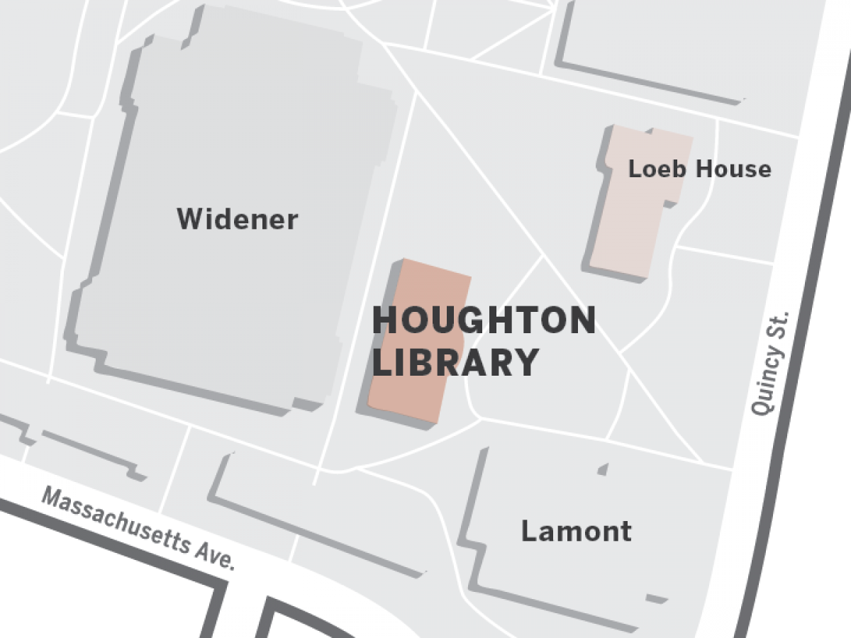 Map showing the locations of Loeb House and Houghton Library