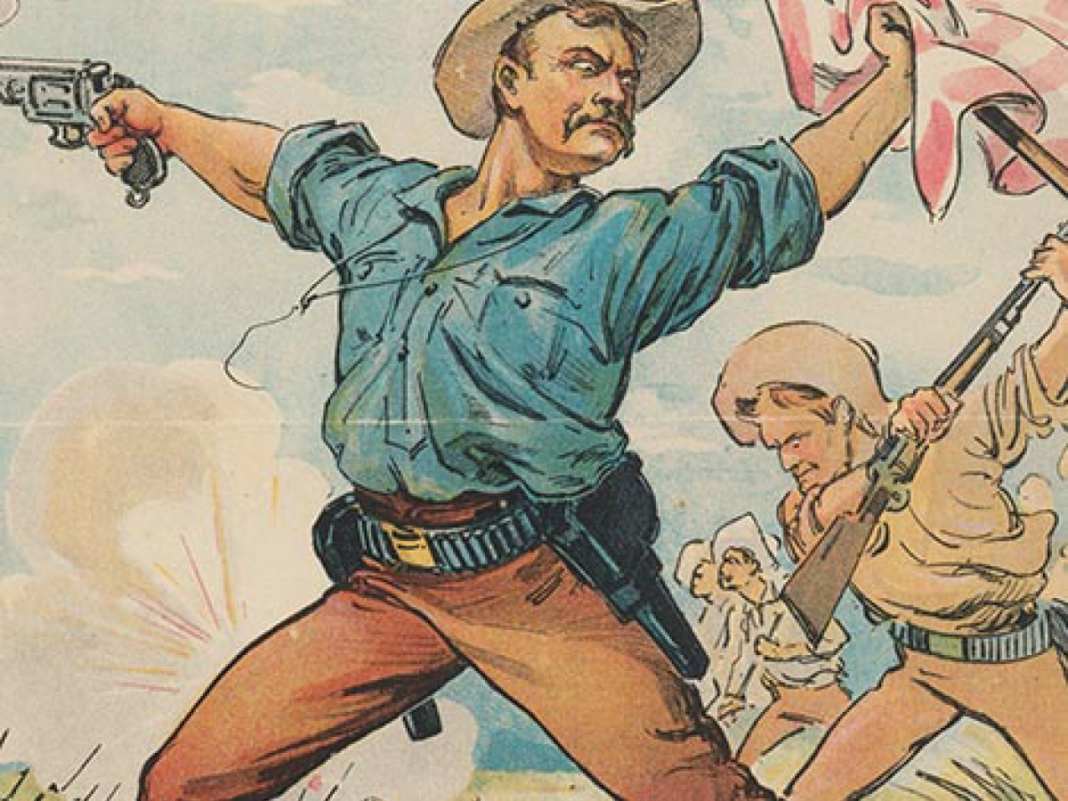 An illustration of Teddy Roosevelt holding a gun and an American flag.