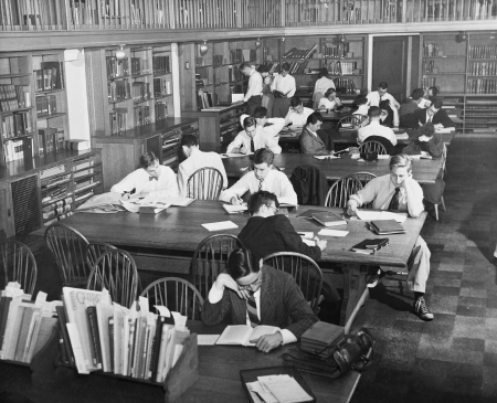 The Fine Arts Library reading room circa 1951.