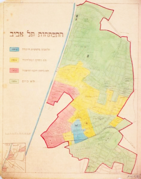 Map of Tel Aviv's growth (1924) from the Central Zionist Archive