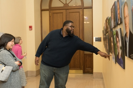 Anthony Jack, Assistant Professor of Education at HGSE, finds his portrait on display.