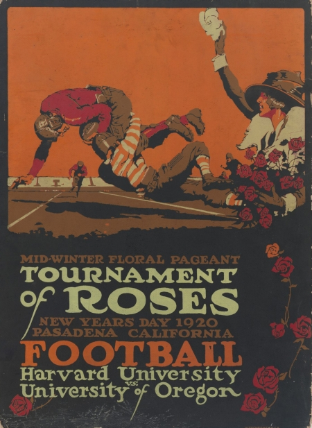 Poster for the Tournament of Roses, played on New Years Day 1920 in Pasadena, California by Harvard University and the University of Oregon.