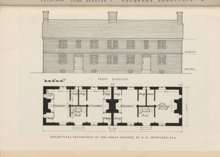 An architectural drawing of plans for restoring the Indian College building at Harvard.