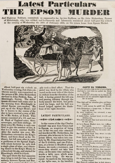 A printed crime broadside with the headline The Epsom Murder.