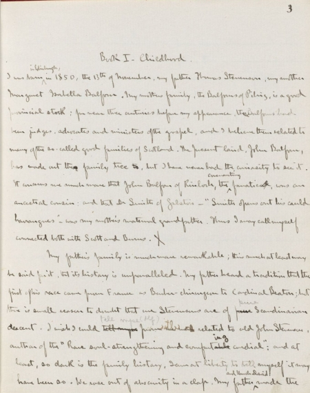 A page from Robert Louis Stevenson's unpublished manuscript, Memoirs of himself, 1880.