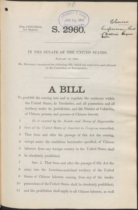 First page of a bill introduced to regulate the movement and residence of Chinese persons and persons of Chinese descent.