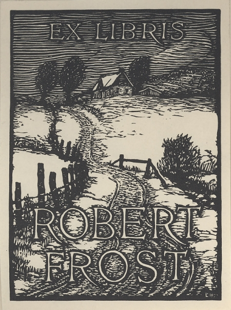 Bookplate by J.J. Lankes for poet (and Harvard graduate) Robert Frost, circa 1923.