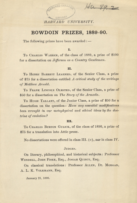 Printed list of works awarded the Bowdoin prize in 1889-1890.