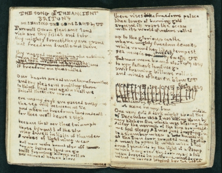 "A handwritten page from ""Scenes on the great bridge By the Genius C.B."" One of several miniature manuscripts made by Charlotte and Branwell Brontë in the collection."